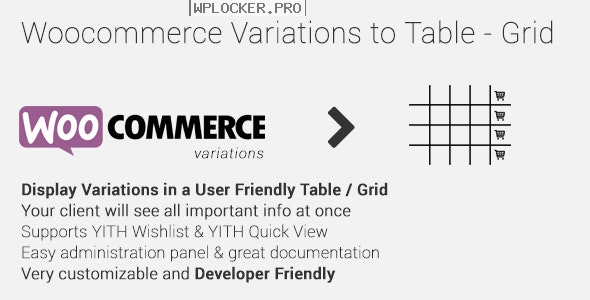 Woocommerce Variations to Table – Grid v1.4.1